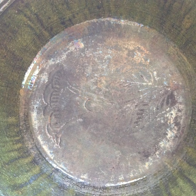 Vintage Rustic Green Studio Pottery Bowl - Image 6 of 9