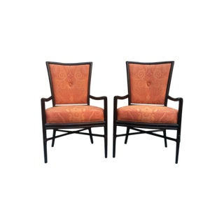 Barbara Barry Oval Button Back Arm Chairs - Pair