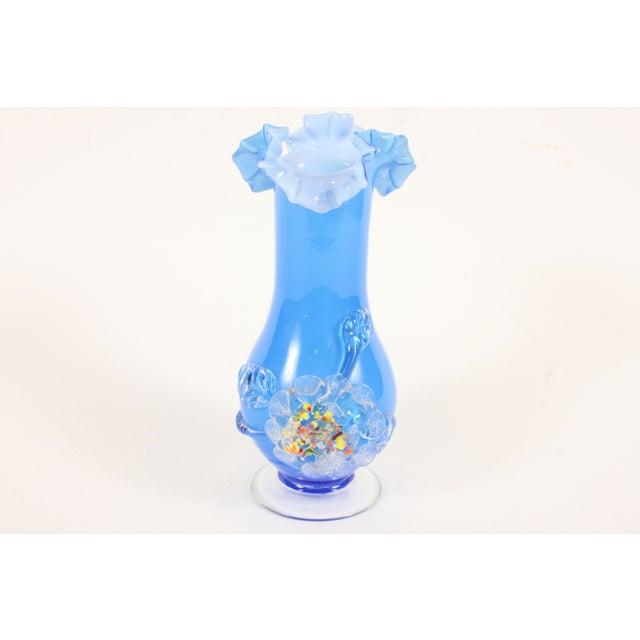 Image of Blue 60's Art Glass Vase