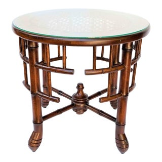 Sarreid Chinese Chippendale Bamboo Cane Side Table