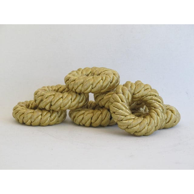 Image of Gold Rope Napkin Holders - Set of 7