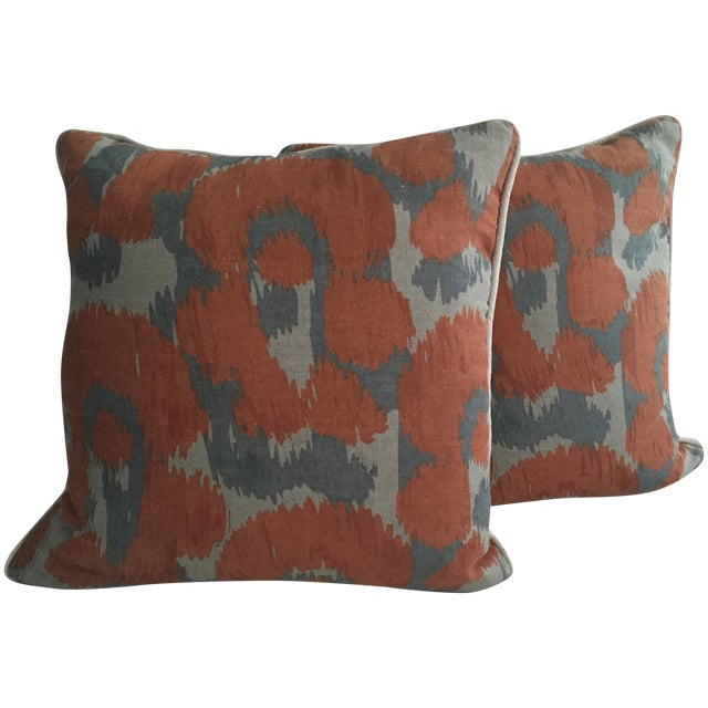 Orange & Gray Linen Pillows - A Pair - Image 1 of 6