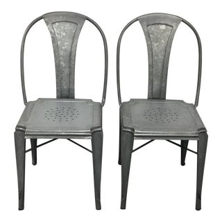 Crate & Barrel Galvanized Metal Lyle Chairs - A Pair