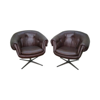 Overman Mid-Century Swivel Lounge Chairs - A Pair