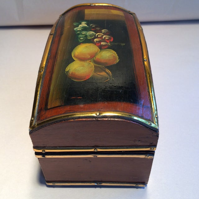 Vintage Hand Painted Fruit Motif Wooden Box - Image 3 of 11