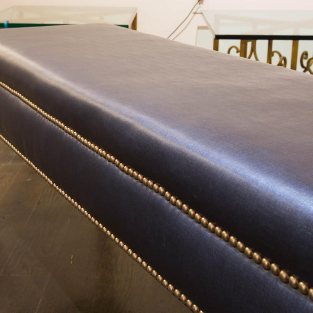 Nailhead Trim Navy Blue Bench - Image 3 of 5