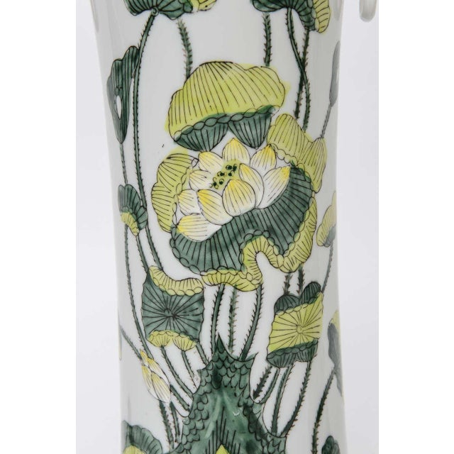 1960s Japanese Porcelain Lotus Flower Vase Form Table Lamps - Image 8 of 9