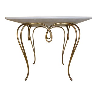 1950s Italian Gilt Iron Mingazzi Marble-Top Table