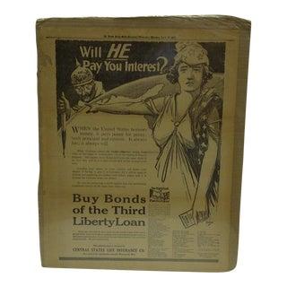 Vintage World War I War Bond Advertisement Newspaper Poster