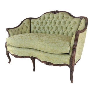 Louis XV Style Light Green Tufted Settee