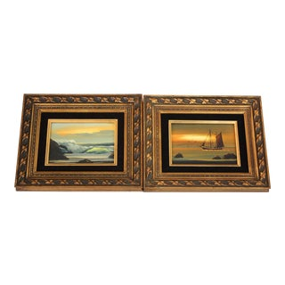Mid-Century Ocean Oil Paintings- A Pair