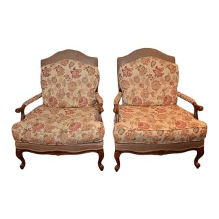Ethan Allen Leather & Upholstered Bergére Chairs - A Pair