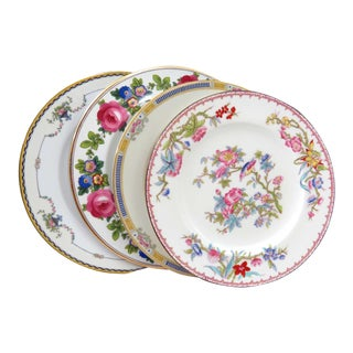 Vintage Mismatched Pink Floral China Dinner Plates - Set of 4
