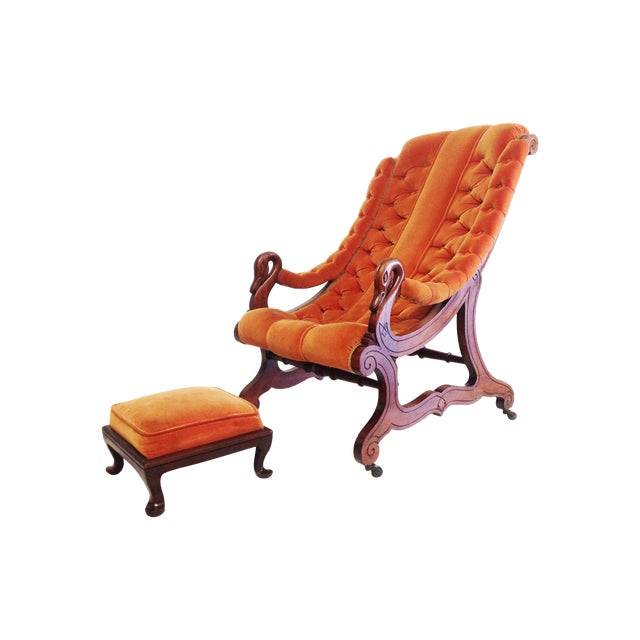 Victorian Antique Armchair With an Ottoman - Image 1 of 7