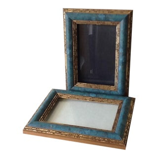 Turquoise & Gold Photo Frames - A Pair