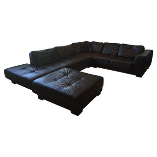 Authentic Roche Bobois Brown Leather Sectional