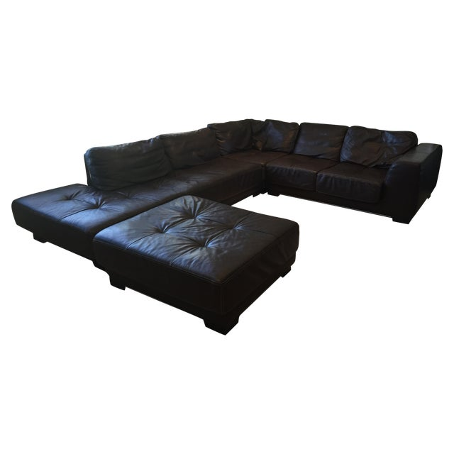 Authentic Roche Bobois Brown Leather Sectional Chairish