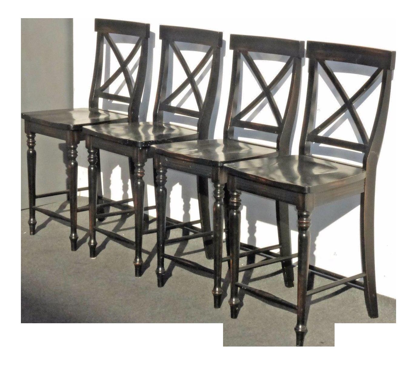 Black Modern Wood Bar Stools Set Of 4