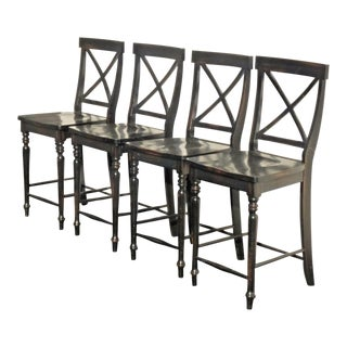 Black Modern Wood Bar Stools - Set of 4