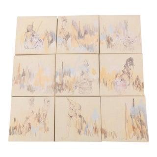 Original Nine-Piece Grid Acrylic Painting by Lee Milmon