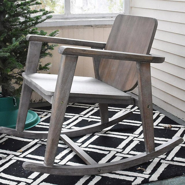 Modern Gray Wooden Rocking Chair - Image 2 of 10