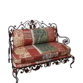 Ornate Wrought Iron Rococo Style Settee With Cushions