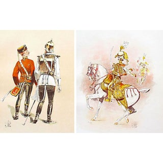 Colourful European Cavalry Prints, 1893 - A Pair
