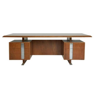 Vintage Walnut Floating Executive Desk