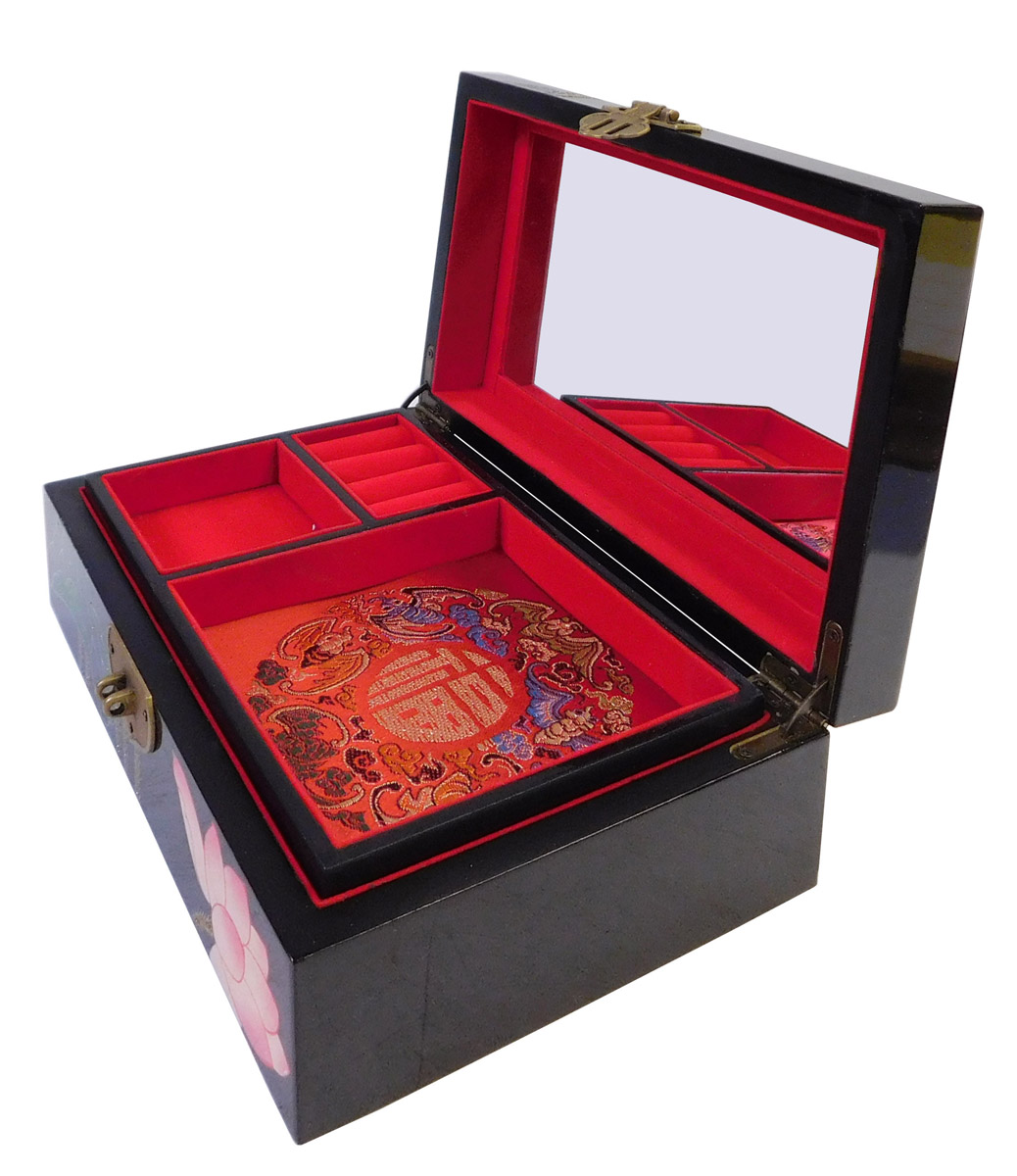 Chinese Oriental Lacquered Jewelry Box Chairish