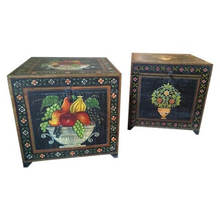 Hand-Painted Wood Boxes - Pair