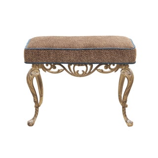 19th-C. Upholstered Cast Iron Stool