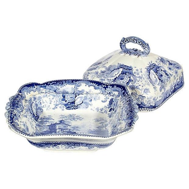 Image of 19th-C. Blue Covered Vegetable Tureen