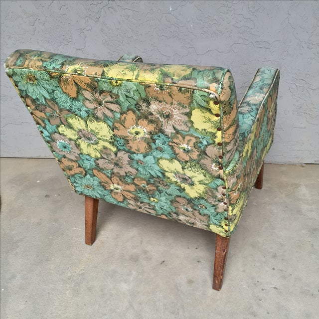 Mid-Century Floral Vinyl & Walnut Lounge Chair - Image 5 of 9