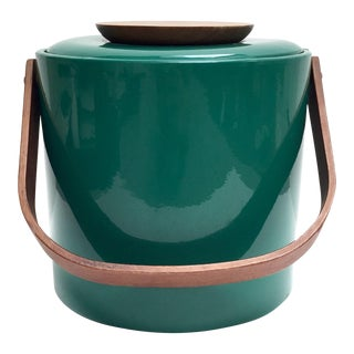 Georges Briard Green Vinyl and Wood Ice Bucket