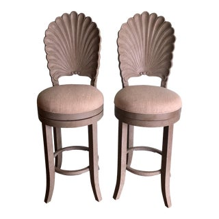 Italian Scallop Back Barstools - A Pair