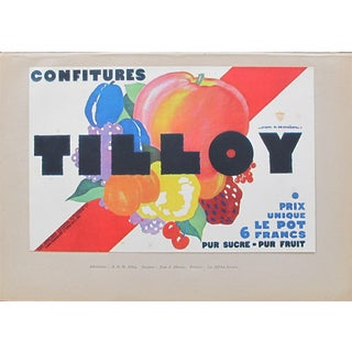 1920s British Art Deco Tip-On Poster, Confitures Tilloy