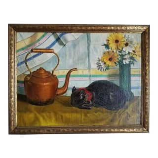 Vintage Art Deco C. 1930s Black Cat Still Life Painting Fine Art