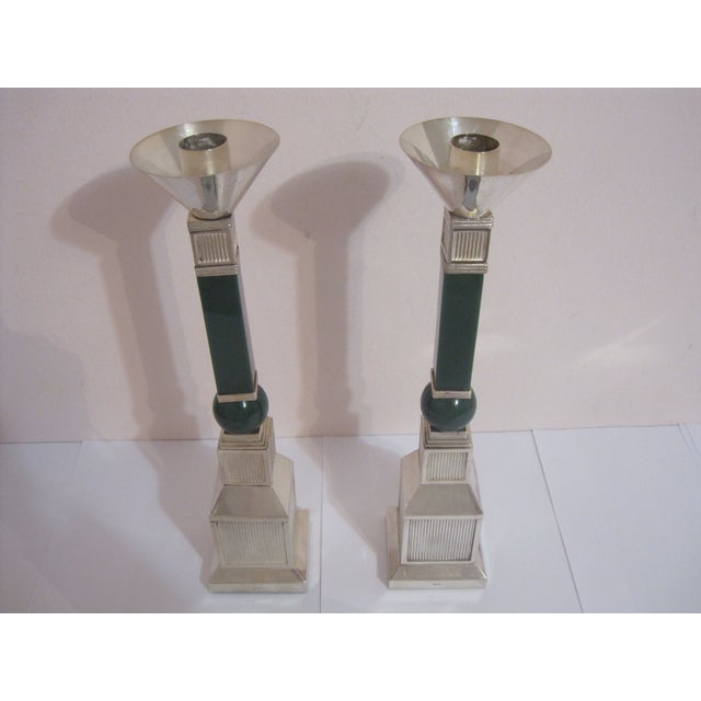 Gucci Mid-Century Silver Plate Candlesticks - Pair - Image 3 of 7