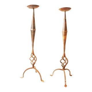 Vintage Wrought Iron Twisted Candle Holders - A Pair