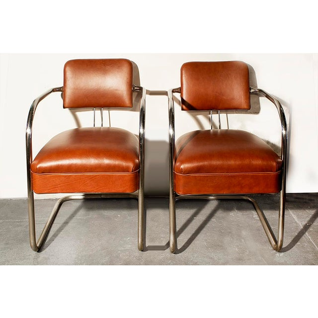 1930s Chromcraft Cantilever Leather Armchairs- A Pair - Image 2 of 7