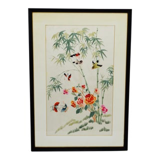 Vintage Framed Asian Embroidery on Silk
