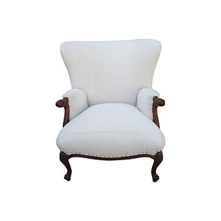 Vintage Linen Wingback Chair