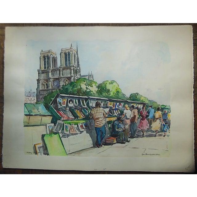 Image of Large Original Mid Century Paris Watercolor