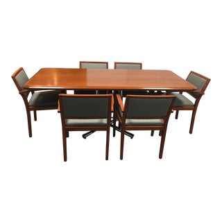 Modern Beveled Wood Dining Table & Six Armchairs