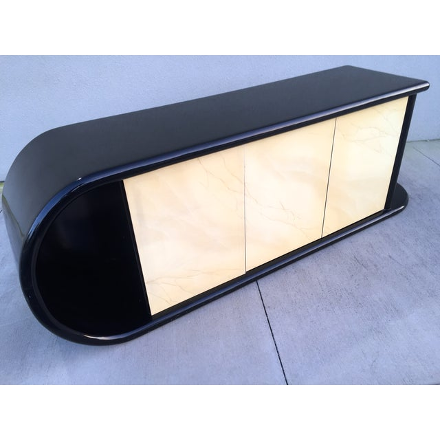 Curved Black Lacquer Credenza - Image 9 of 11