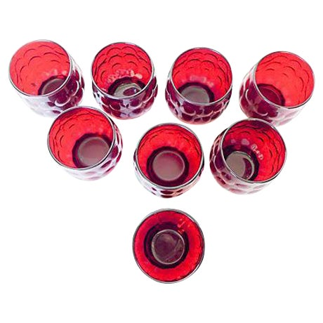 Image of Mid-Century Ruby Red Glasses - Set of 8