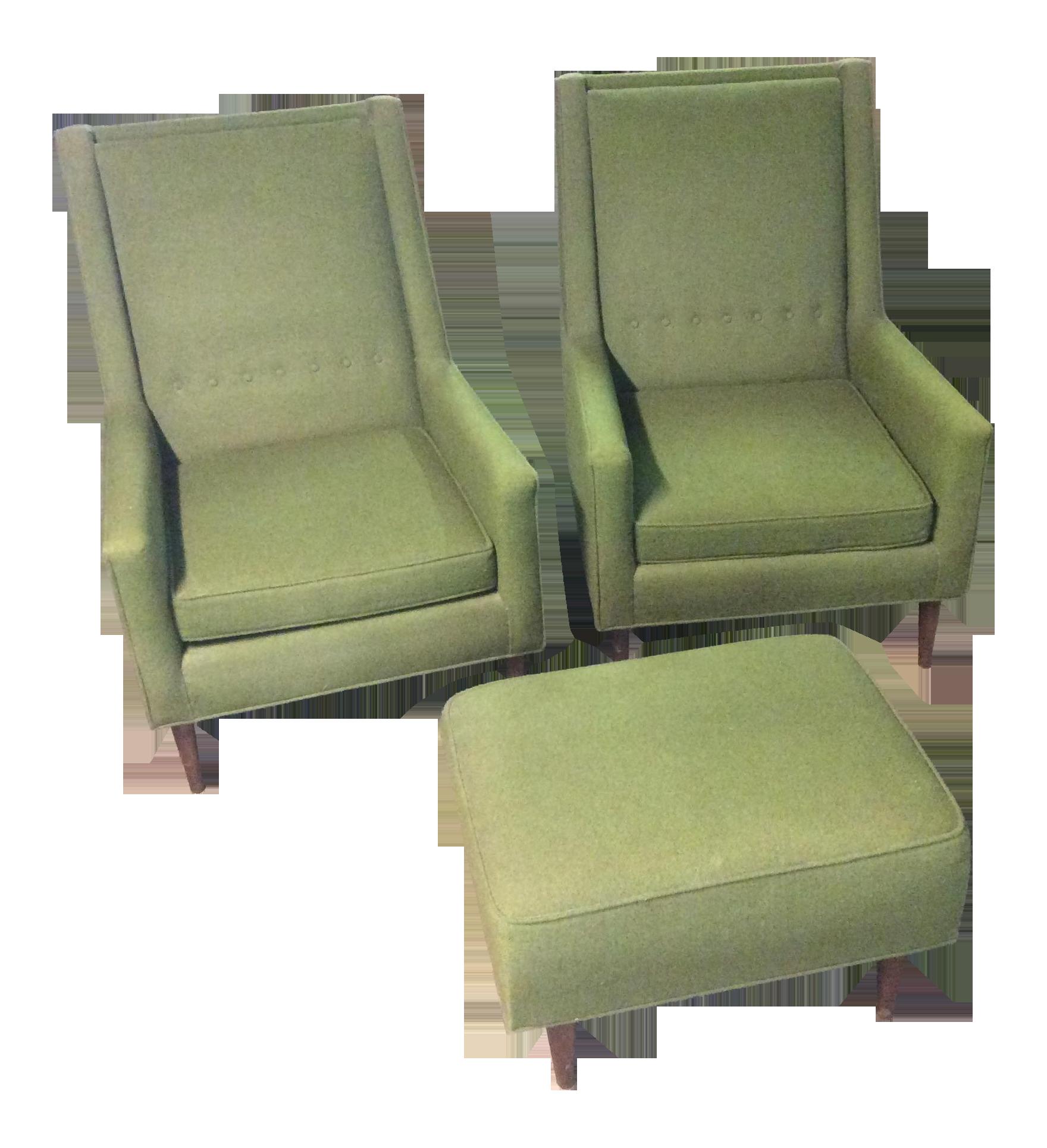 midcentury moss green tufted club chairs u0026 ottoman set