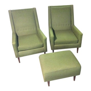 Mid-Century Moss Green Tufted Club Chairs & Ottoman Set