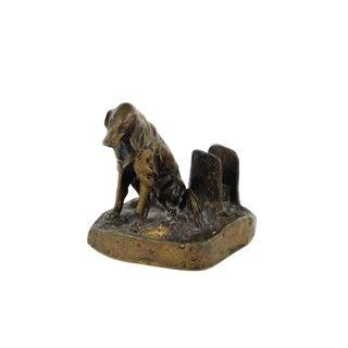Patinated Bronze Smoke Tray With Dog - Irish Setter- C1910