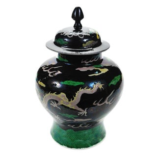 "Chinese ""Famille Noir"" Porcelain Dragon Ginger Jar"